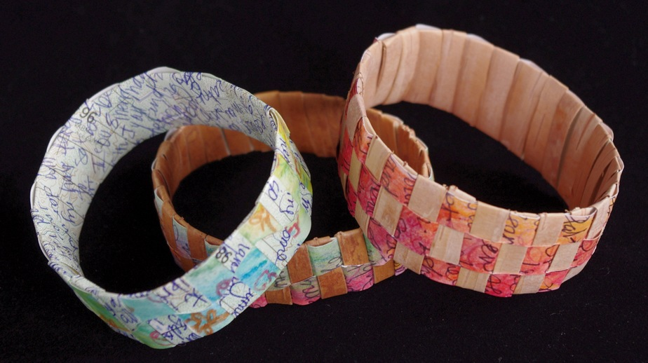 Woven birch bark and map bracelets.