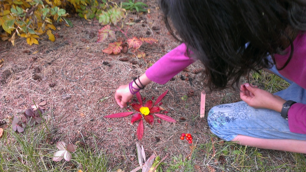 A student creating a piece of land art.